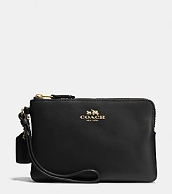 COACH BOXED CORNER ZIP WRISLET IN CALF LEATHER