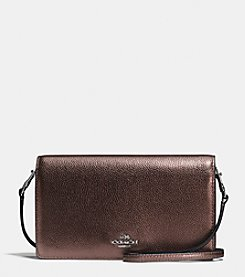 COACH FOLDOVER CROSSBODY IN METALLIC LEATHER