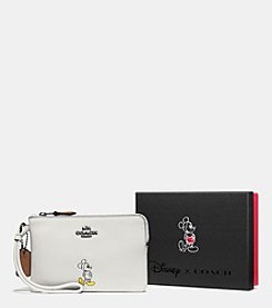 COACH BOXED MICKEY CORNER ZIP WRISTLET IN CALF LEATHER