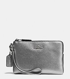 COACH BOXED CORNER ZIP WRISTLET IN METALLIC LEATHER