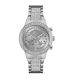 GUESS Women's Silvertone Crystal Sport Watch