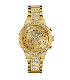 GUESS Women's Goldtone Crystal Sport Watch