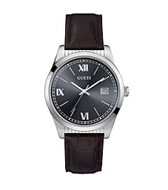 GUESS Men's Leather Strap Dress Watch