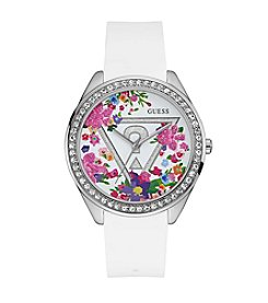 GUESS Floral Slicone Strap Watch