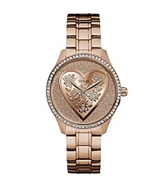 GUESS Floral Heart Dial Watch