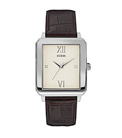 GUESS Men's Leather Strap Casual Dress Watch