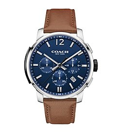COACH BLEECKER CHRONO STAINLESS STEEL LEATHER STRAP WATCH