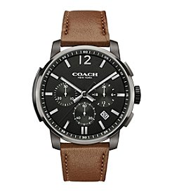 COACH BLEECKER CHRONO IONIZED PLATING LEATHER STRAP WATCH