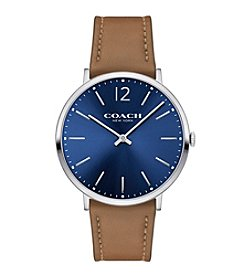 COACH MEN'S 40mm SLIM EASTON SUNRAY DIAL STAINLESS STEEL LEATHER STRAP WATCH