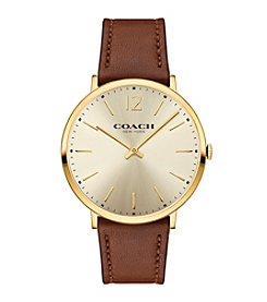 COACH SLIM SUNRAY DIAL PLATED LEATHER STRAP WATCH