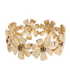 Erica Lyons® Meet Me In Glitzerland Casted Flower Stretch Bracelet