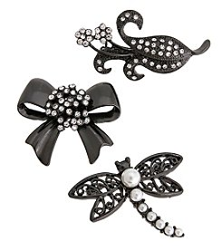 Erica Lyons® Scatter Pin Trio  Dragonfly Bow Flower