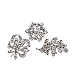 Erica Lyons® Scatter Pin Trio  Flower Leaf Bow