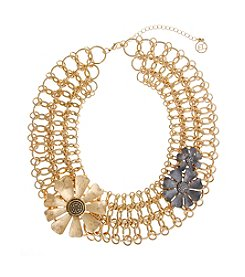 Erica Lyons® Meet Me In Glitzerland Flower Statement Necklace