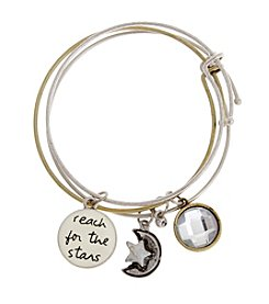 TRUE SENTIMENTS Two Tone Charm Bangle Bracelet Gift Set