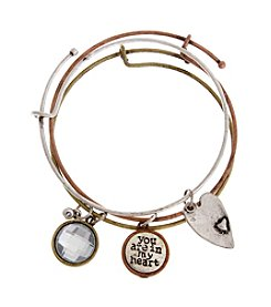 TRUE SENTIMENTS Tri-Tone Charm Bangle Bracelet Set
