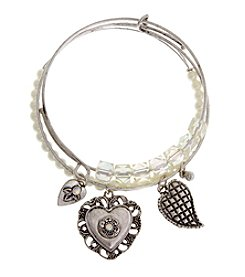 TRUE SENTIMENTS Heart Charms Bangle Bracelet Gift Set