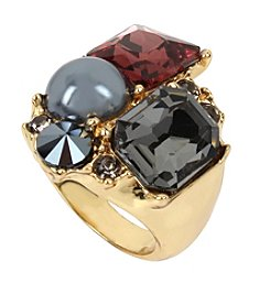 Kenneth Cole® Mixed Faceted Stone & Pearl Cluster Ring