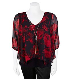 A. Byer Plus Size Floral Overlay Top
