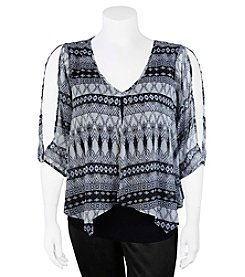 A. Byer Plus Size Geometric Overlay Top
