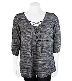 A. Byer Plus Size Lace Up Trapeze Top