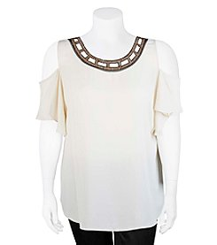 A. Byer Plus Size Beaded Neck Top