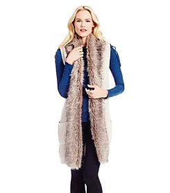 Jessica Simpson Fur Collar Sweater Vest