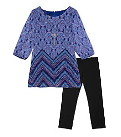 Amy Byer Girls' 7-16 2-Piece Patterned Top And Leggings Set
