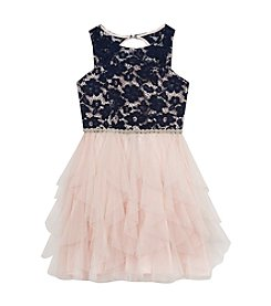 Rare Editions® Girls' 7-16 Belted Lace Cascade Dress
