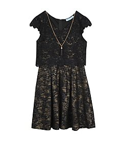 Tween Diva by Rare Editions Girls' 7-16 Lace Popover Dress