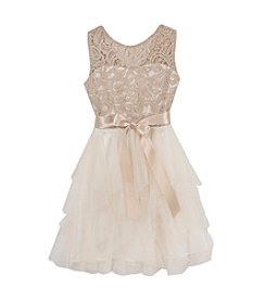 Tween Diva by Rare Editions Girls' 7-16 Lace Illusion Cascade Dress