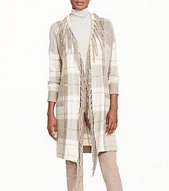 Lauren Ralph Lauren® Plaid Fringe-Trimmed Cardigan