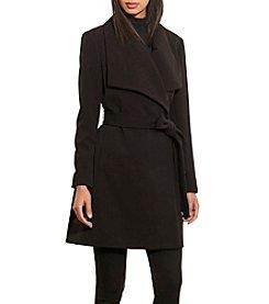 Lauren Ralph Lauren® Crepe Drape Front Belted Coat
