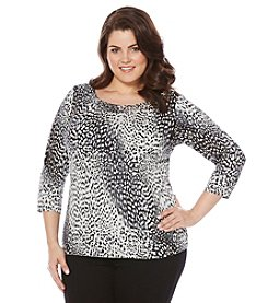 Rafaella® Plus Size Call Of The Wild Print Top
