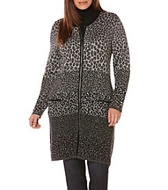 Rafaella® Plus Size Animal Print Jacquard Duster