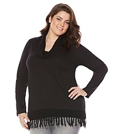 Rafaella® Plus Size Solid Cowl Neck Fringe Top
