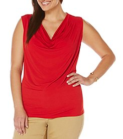 Rafaella® Plus Size Solid Drape Neck Top