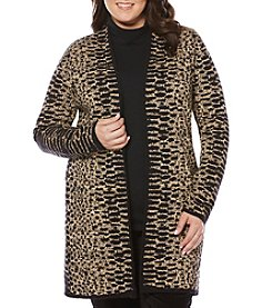 Rafaella® Plus Size Jacquard Open Cardigan