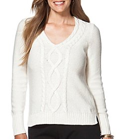 Chaps® Plus Size Metallic Cable-Knit Sweater