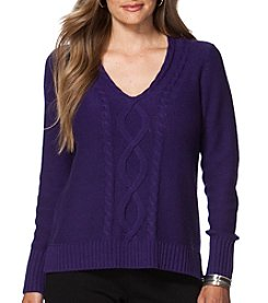 Chaps® Plus Size Cable-Knit V-Neck Sweater