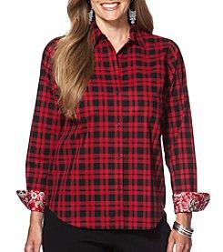 Chaps® Plus Size Non-Iron Plaid Cotton Shirt
