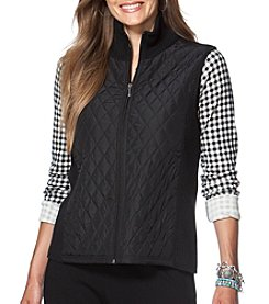 Chaps® Plus Size Quilted Front Vest With Sweater Ribbed Back