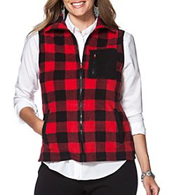 Chaps® Plus Size Buffalo Check Fleece Vest