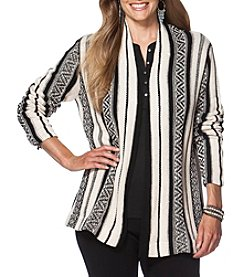 Chaps® Plus Size Striped Open-Front Cardigan