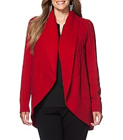 Chaps® Plus Size Cable-Knit Open-Front Cardigan