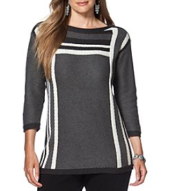 Chaps® Plus Size Textured Striped Sweater
