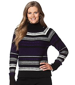 Chaps® Plus Size Patterned Mockneck Sweater