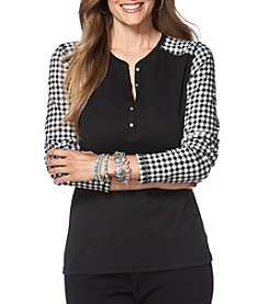 Chaps® Plus Size Patterned-Sleeve Henley Shirt