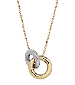 Double Hoop Necklace In 14K Two Tone Gold