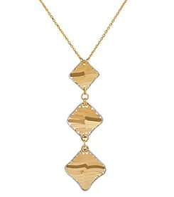 Triple Diamond Shaped Pendant In 14K Two Tone Gold
